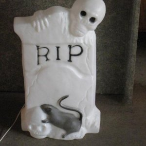 "Halloween blow mold RIP tombstone. 22"" tall. I don't thin I've seen anything quite like this. I need to check the blow mold thread again because"