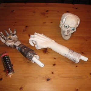 New paper mache/Paperclay hands for Witchy Pooh and cheap foam skull for Witchy Pooh's sister.