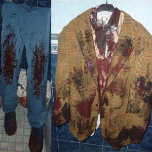 "18: His clothes waiting for the ""blood"" to dry."