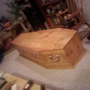 Grandma's coffin. We pull her out for three nights a year. So far, she has never complained.