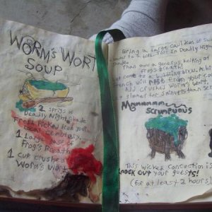 Inside Sally's Spell book Worm's Wart handmade burned pages