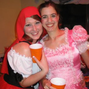 My daughter little red riding hood and her best friend little Bo Peep
