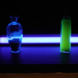 Blacklight behind potion jars.  Just testing out the look of things.