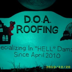 roofing sign for skeleton crew