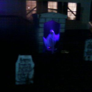 A view of Bob (my crank ghost) and a couple of tombstones.
