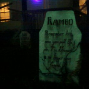 Night shot of Rambo's tombstone.