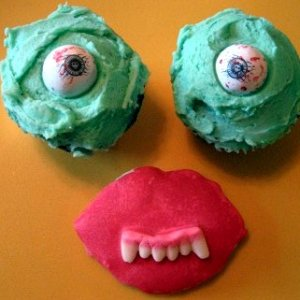 Eye ball cupcakes and vampire lip cookie