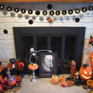 Our fireplace all decked out for Halloween