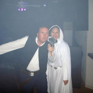 Me (Han Solo) and my wife (Princess Leia.)