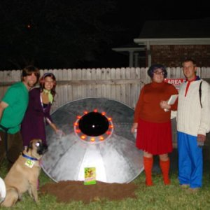 "Unfortunately, this is the only other shot I got of our outside 6' diameter Roswell-style UFO that we made to look like it ""crash landed"" in"