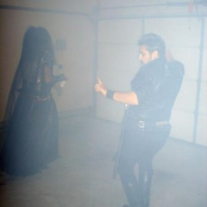Garage dance floor with fog machine running.