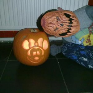 Ellis with pumpkin x