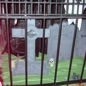 Cemetary - The crank Ghost hangs above the fenced off area.