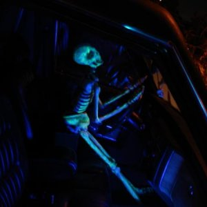 Skelly driving the Hearse