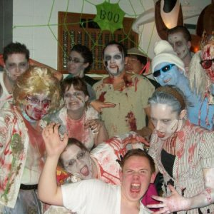 the whole croud of the fifties zombies plus one smurf