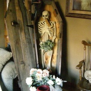 "A corner of our ""Vampire Room"" with a wooden coffin, daylight blazing in the front window to shine upon this ill-fated vamp. Even vampires g"
