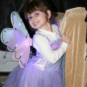 My little fairy, I made her light up wings, I think they could be seen from space but nobody was going to hit her on Halloween night or anyone near he
