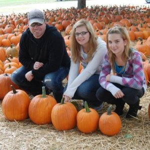 Me and two of the little ones, getting our pumpkins for the year from the local pumpkin patch. As you can see there are 5 of us in the house so we had