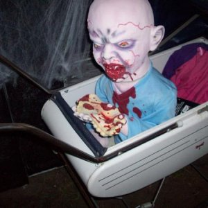 zombie baby room. I got this  childs buggy at a yard sale for 2 bucks.