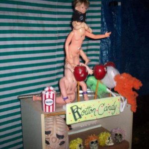 creepy baby and rotten candy and  candy apples