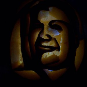 my nephew carved my pic into a  pumpkin