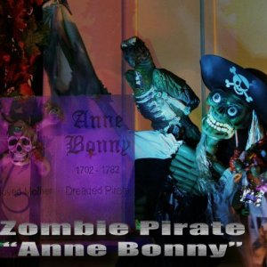 Zombie Pirate  A composite of my zombie pirate that hung off the front steps. The tombstone was down and to her right.