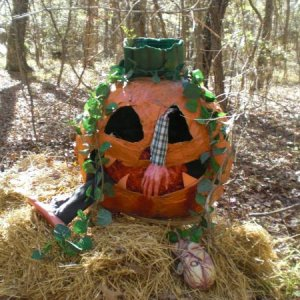 At the Peter Peter Peole Eater site, the man eating pumpkin