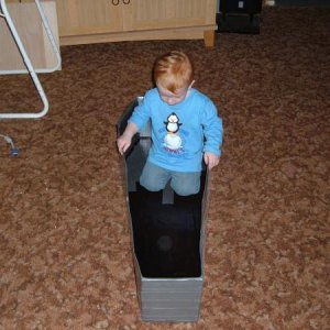 I placed the coffin on the floor, my nephew jumps in and says coffin boat.....out of the mouths I tell ya...
