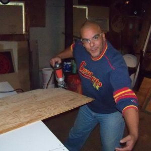 2DF - yup thats me clownin around for the camera....I am cutting out the top and bottom for a 3' coffin.