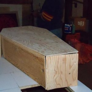Small Coffin that we put together....no nails or glue at this point...just cut out pieces and laid together....