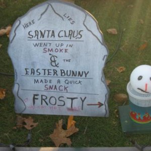 Santa E bunny Frosty nothing is safe this night