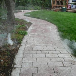 Brick path with fog starting.