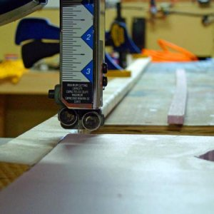 "Use a jig to cut out the strips from 1/2"" thick foam that make the edges of the I-beams."