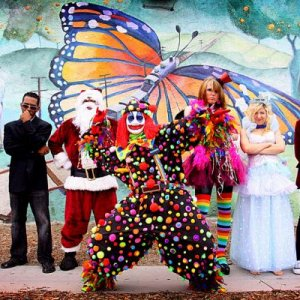The Funhouse crew. From left to right. FUnny Bunny, James T Lawson, 7-Way Santa, Sarcazmo, Scarlet Snow, Tooth Fairy, Bobby Deal.