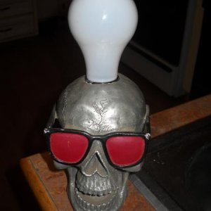 Skull lamp I found at the Salvation Army.  The regular bulb is there to show size.  I didn't find a lampshade yet, so he had a black light bulb for H'