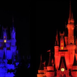 The castle changes dramatic colors all night