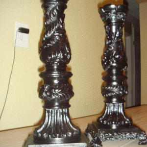 3 dollar candle stick holders I found at a garage sale, again they were gold and I prime dand painted them black. They are pretty large and very very