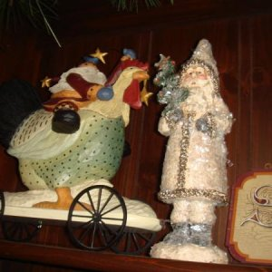 Love the Santa riding the chicken and of course the glitzy one next to him
