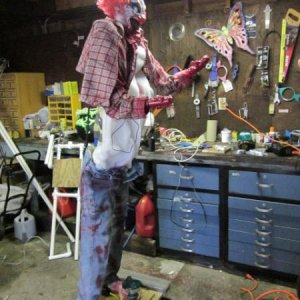 clown prop body sideways