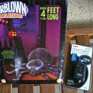 GOODWILL, 2011. Gemmy 4ft air inflatable spider. $6.99 less weekly tag discount, paid $5.52. RCA Home Control Key Chain Remote for 2 devices (compatib