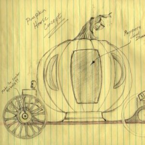 Pumpkin Hearse Concept Drawing.    This is the hearse I'm considering building this year to replace my old hearse?  I wonder if it is to Cinderella li