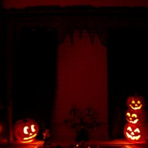 Picture 040 Glowing Jack-o-Lanterns light the kitchen window.