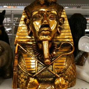 "ROSS, 2011. Pharaoh bust, 12.5 inches, ""gold plated"", 21.99. Will make a great edition to the Egyptian Mummy tomb theme"