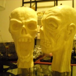 The zombie heads I ordered from Terror Syndicate Productions (awesome website...love them!) just need a little zombification...