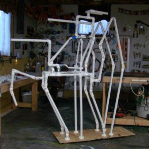 Skeleton frame for the Hell Horse is complete. Think of it as a groundbreaker. He is rising up from a hellhole in the ground, that's why you see half