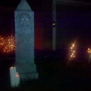 built this one about 4.5 feet tall the skull on the front has flickering orange LED lights in it, hard to see with flash