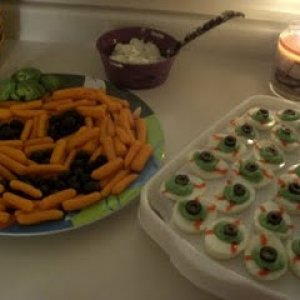Halloween Snacks - Carrot Tray & Deviled Egg Eyeballs