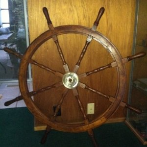 "After searching all over the place for a good quality wagon wheel to turn into a ""pirate helm ship wheel"" ... I eventually gave in and picke"