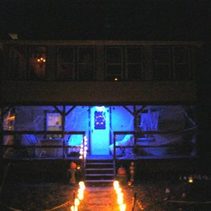 My house at night. Gone is the kid friendly atmosphere. Lighted skulls lead you to the porch (used a blue lightbulb). A lighted skull wreath hangs on