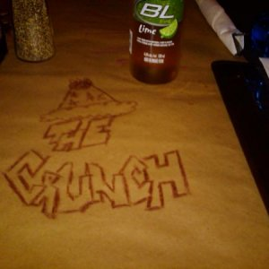 Montana's supper table with butcher paper. Had to sign it, notice the beer?